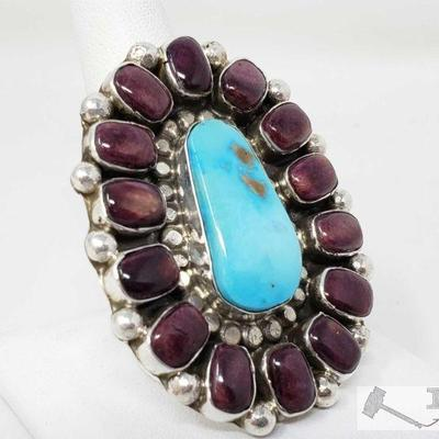 Teresa Daniels Sterling Silver Native American Handmade Turquoise, Purple Spiny Oyster Ring, 29.3g This beautiful ring is marked silver...