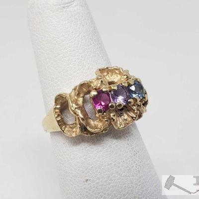 14k Gold Birthstone Ring, 4.2 This Beautiful 14k Gold Birthstone Ring weighs approximately 4.2, and is a size 4 approximately. Metal...