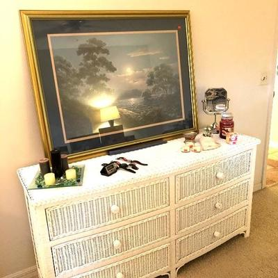 White Wicker Dresser - $125