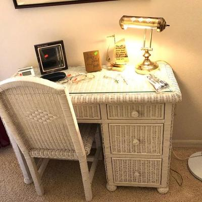 White Wicker Desk w/Chair - $135