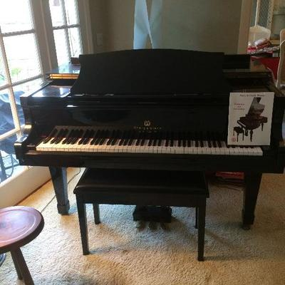 Story and Clark Prelude Baby Grand Piano with QRS Pianomation, CD player & more in polished ebony with matching bench