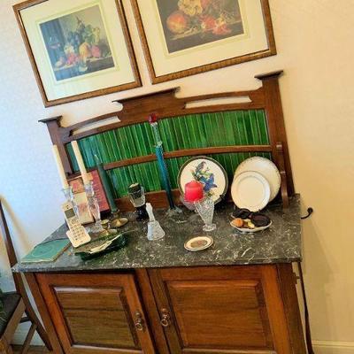 English washstand, original tiles. 1910 or so. Nice nouveau influences!