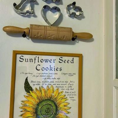 Assorted Cookie Cutters, Rolling Pin and Wall Art