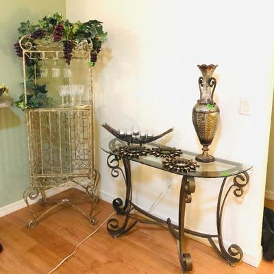 Metal & Glass Demi-Lune Entry/Sofa Table - $95 	(Matching Coffee Table & 2 End Tables also Available) Iron Wine Storage/Display Bar - $110