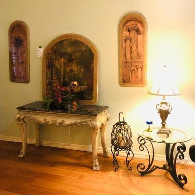 Carved Wood Sofa/Entry Table with Mosaic Marble Top - $169
