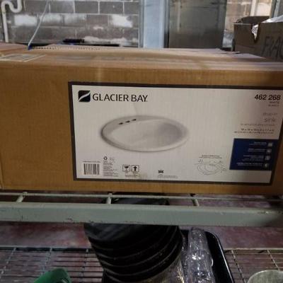 Glacier Bay Aragon Drop-in Bathroom Sink In White- ...