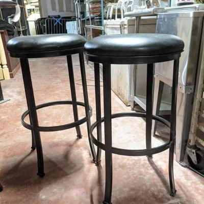 (2) Round Black Faux Leather Bar Stools