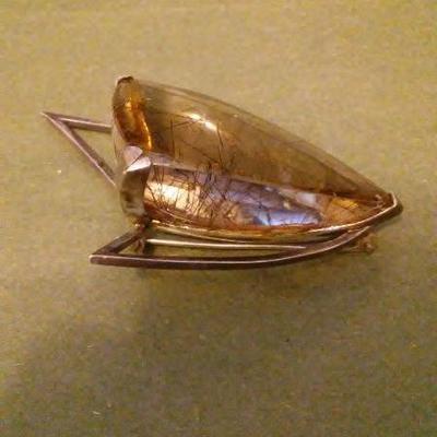 George Jensen sterling silver & rudilated quartz brooch 1 of 2