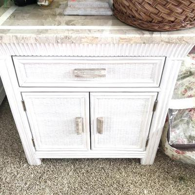 4 White Wicker Night Tables w/Solid Surface Top - $150 EACH