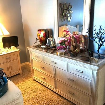 1 White Wicker Low Dresser w/Mirror - $240