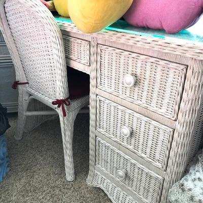 White Wicker 4-Drawer Desk with Glass Top - $225