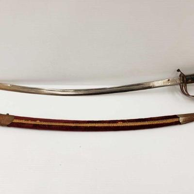 851: Vintage India Made Replica German WW1 Officers Sword with Scabbard Measures approx 35in