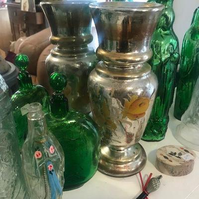 Mercury Glass, Vintage Colored Glass