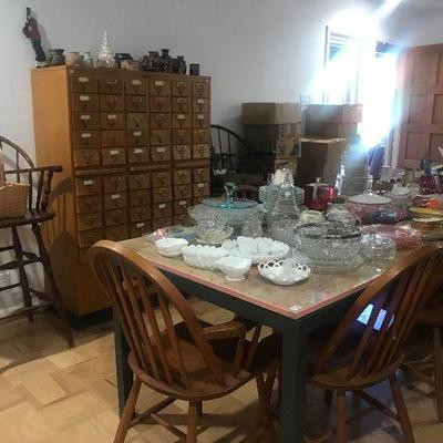 Dining Table, China, Crystal, Windsor Style Chairs,