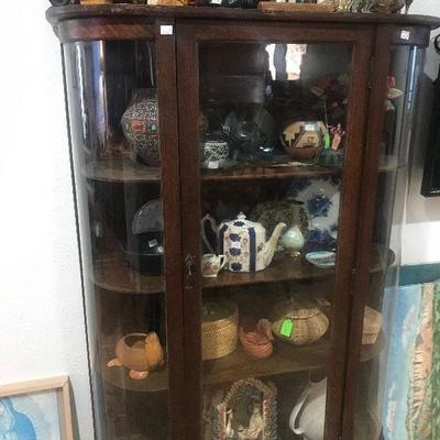 Antique Oak China Cabinet, curved glass