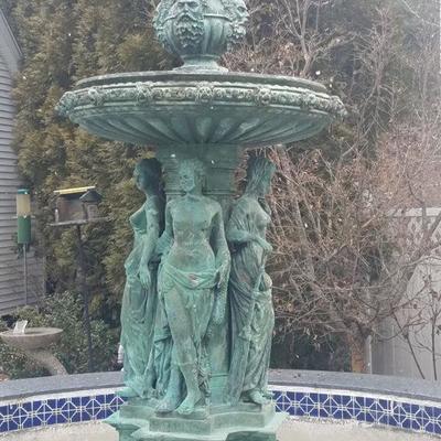 Impressive large Four Seasons bronze fountain
