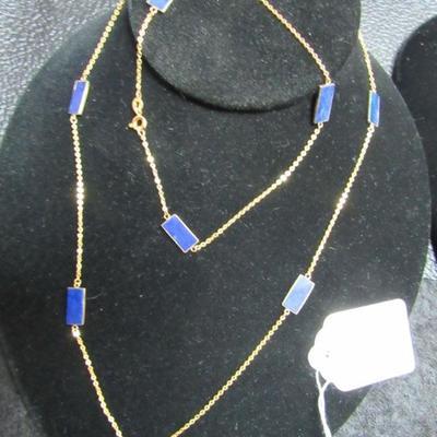 14kt Gold Lapis Necklace