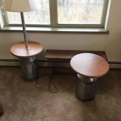 Milk Can Tables and Bench