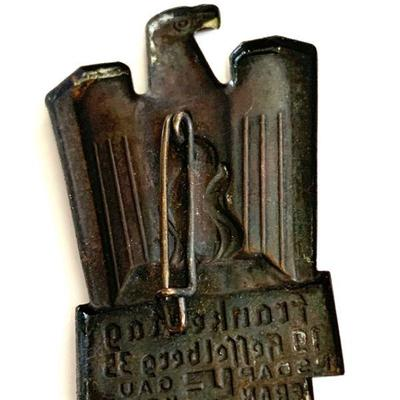 A 1935 CELEBRATORY FRANKENTAG HESSELBERG DISTRICT BADGE A 1935 badge for district day for Hesselberg. In die stamped silvered metal,...
