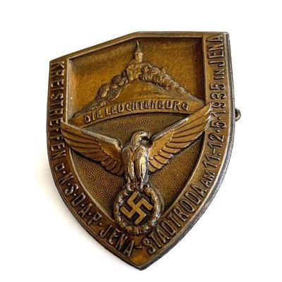 A 1935 NSDAP DISTRICT MEET BADGE FOR JENA-STADTRODA A 1935 NSDAP Kreisteffen badge for the distric of Jena-Stadtroda at Leuchrenburg...