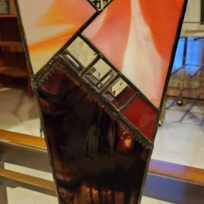 Antique Stained Glass Vase