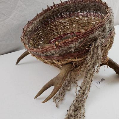 Beautiful Deer Antler Woven Basket