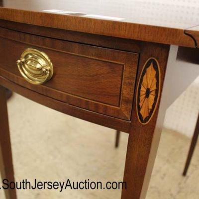 "CLEAN ""Councill Furniture"" Burl Mahogany Drop Side Pembroke Table with Inlay  Auction Estimate $200-$400 – Located Inside"