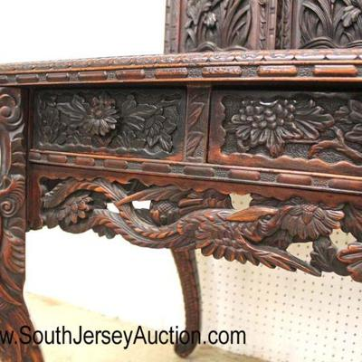 Late 19th Century Early 20th Century Highly Carved and Ornate Asian Hardwood Desk with Fancy Top  Auction Estimate $700-$1200 – Located...