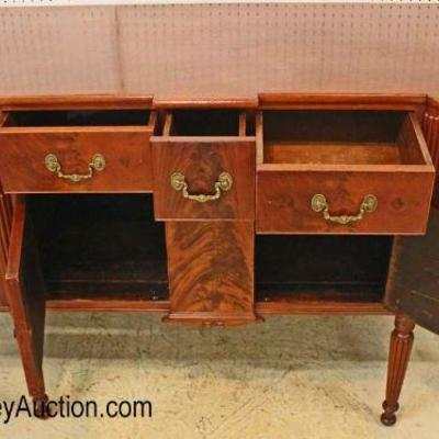 ANTIQUE Burl Mahogany Serpentine Buffet  Auction Estimate $700-$1200 – Located Inside
