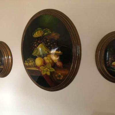 3D Oval Fruit Wooden Wall Plaques
