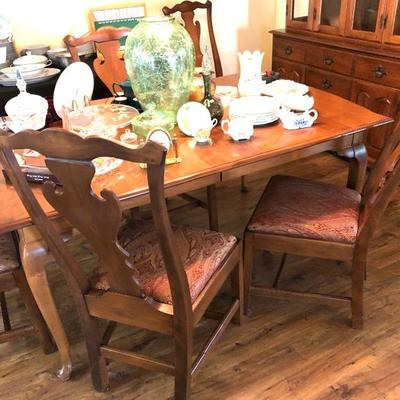 Heywood-Wakefield Honey Walnut Finish 3-Leaf Dining Table w/6 Chairs - $525