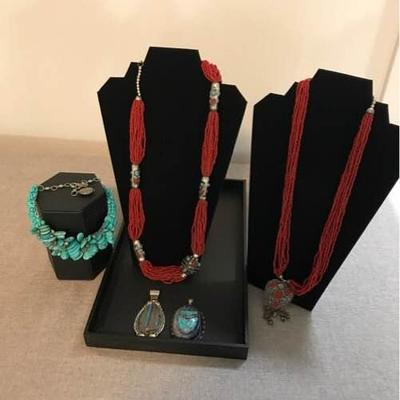 Beautiful collection of bead necklaces and pendants! The second image-turquoise necklace with pyrite is custom made on sterling silver...