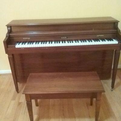 Baldwin Piano, Stool, and Music