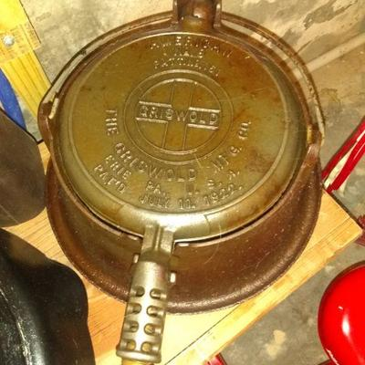 Griswold cast iron stove top waffle maker