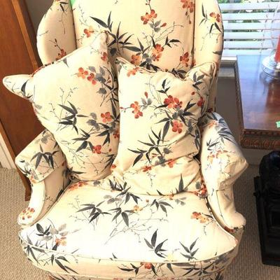 Upholstered Wingback Chair - $125