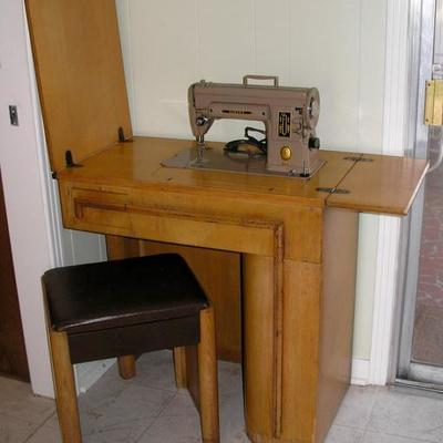 Fabulous Art Deco Oak Sewing Table/Machine and Bench