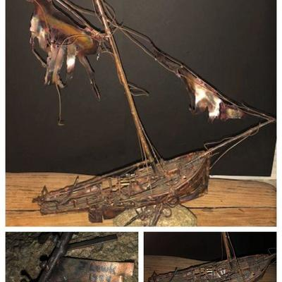 Unique all copper handcrafted ghost ship by Jim Lewk