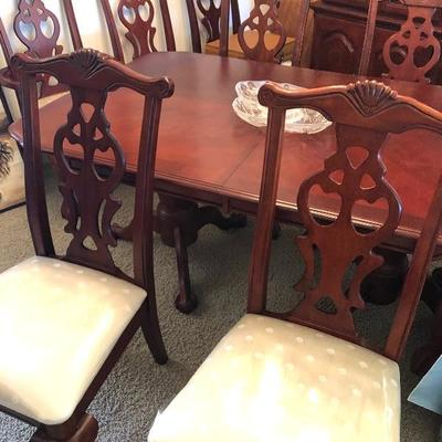 Cherry Stain Double Pedestal Dining Table w/8 Chairs & 2 leaves (by Tonic Furniture Co.)