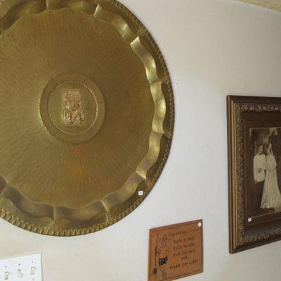 Large Brass Tray tabletop or wall décor from Venezuela – 1960s Features Ancient Tumi God on the piece. Very elegant.
