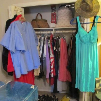 Lots of clothes for men & women to choose from in all the bedrooms.