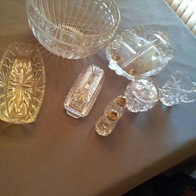 Assortment of Crystal Condiment and Serving Dishes