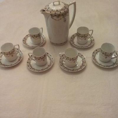 Antique M&Z Austria Teapot, Set of Six Teacups and Saucers