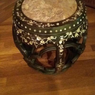 Accent Table with Marble Top and Mother of Pearl Inlay