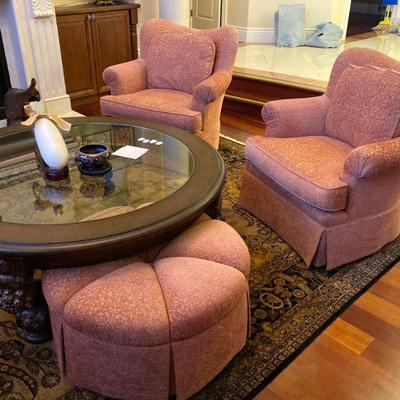 High-end SHERRILL upholstered furniture; Awesome curved sofa,, club accent chairs, Puff Ottoman.