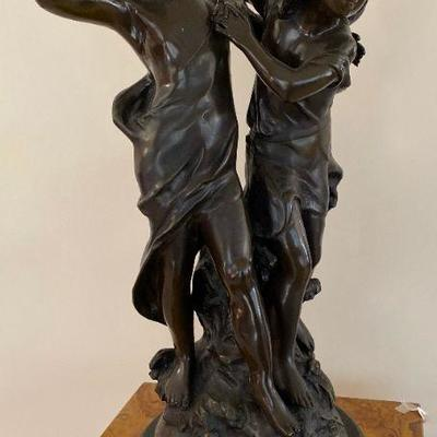 Large Neoclassical French bronze sculpture of girl and boy Auguste Moreau circa 1930s