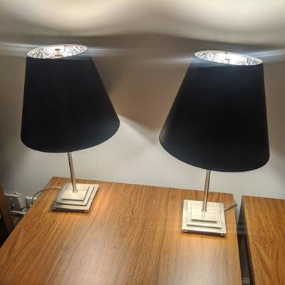 pair o lamps, black shades 20 inches tall-- $45 for the pair
