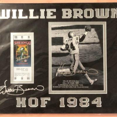 DCK019 Willie Brown HOF 1984 Super Bowl XI Facsimile Ticket and Signature Print