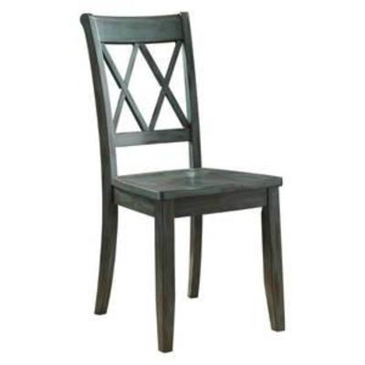 Ashley Furniture Signature Design - Mestler Dining Room Side Chair - Wood Seat - Set of 2 - BlueGreen