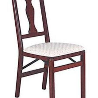 2 Piece Folding Chair with Blush Fabric Seat Maple like- Stakmore, Adult Unisex, Brown