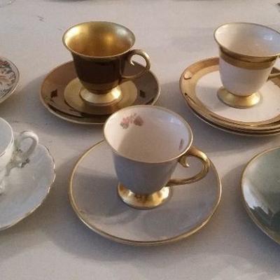 Flintridge China teacups and saucers (made in USA)